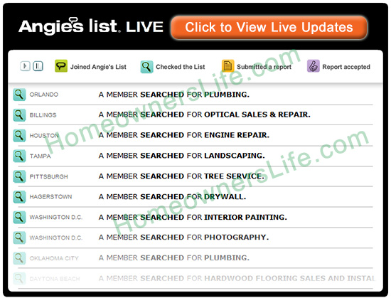 Angie's List Live Searches